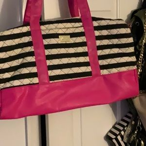 Pink white and black weekend tote